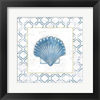 Navy Scallop Shell on Newsprint with Gold Framed Print