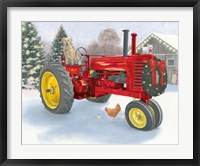 Framed Christmas in the Heartland III Red Tractor