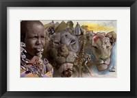Framed Africa Lions