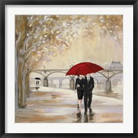 Framed Romantic Paris III Red Umbrella