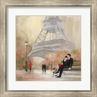 Framed Romantic Paris I Red Jacket