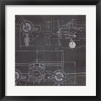 Framed Plane Blueprint III No Words Post