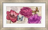 Framed Roses and Butterflies (Neutral)