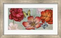 Framed Flowers and Butterflies (Aqua)