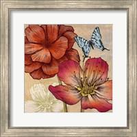 Framed Flowers and Butterflies (detail)