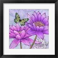Framed Nympheas and Butterflies (detail)