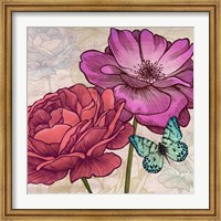 Framed Roses and Butterflies (detail)