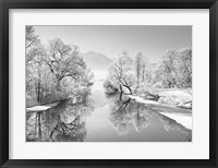 Framed Winter landscape at Loisach, Germany (BW)