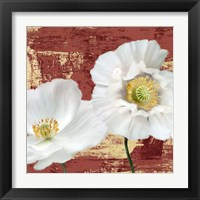 Framed Washed Poppies (Red & Gold) I
