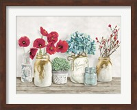 Framed Floral Composition with Mason Jars
