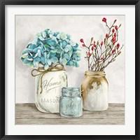 Framed Floral Composition with Mason Jars I