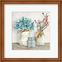 Framed Floral Composition with Mason Jars I