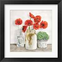 Floral Composition with Mason Jars II Framed Print