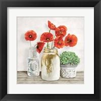 Framed Floral Composition with Mason Jars II