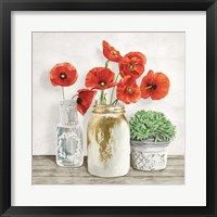 Framed Floral Composition with Mason Jars II
