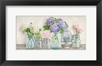 Framed Flowers in Mason Jars