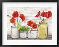 Framed Poppies in Mason Jars (detail)