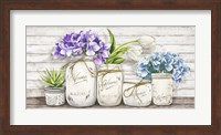 Framed Hydrangeas in Mason Jars