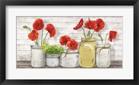 Framed Poppies in Mason Jars