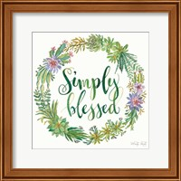 Framed Simply Blessed Succulent Wreath