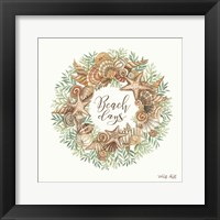 Framed Beach Days Shell Wreath
