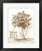 Framed Bless Our Nest Cotton Bouquet