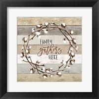 Framed Family Gathers Here Cotton Wreath
