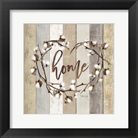 Home Cotton Wreath Framed Print