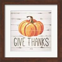 Framed Give Thanks Pumpkin