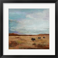 Framed Buffalo Under Big Sky Red and Brown