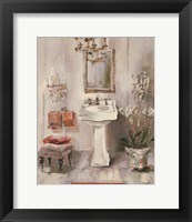 Framed French Bath III Gray and Blush