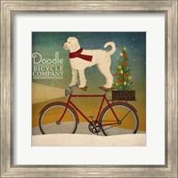 Framed White Doodle on Bike Christmas