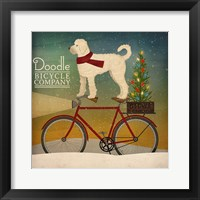 Framed White Doodle on Bike Christmas