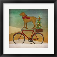 Framed Yellow Lab on Bike Christmas