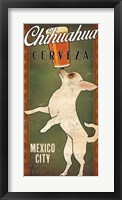 Framed White Chihuahua on Green