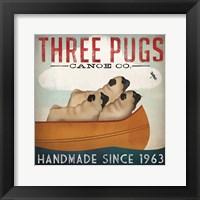 Framed Three Pugs in a Canoe
