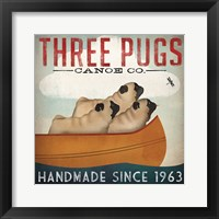 Framed Three Pugs in a Canoe