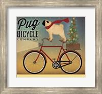 Framed Pug on a Bike Christmas