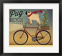 Framed Pug on a Bike Christmas