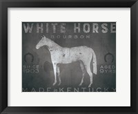 Framed White Horse with Words