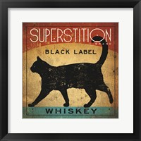 Framed Superstition Black Label Whiskey Cat