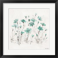 Framed Wildflowers III Turquoise