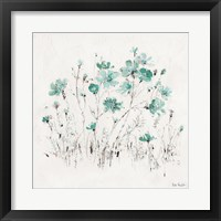 Framed Wildflowers II Turquoise