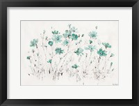 Framed Wildflowers I Turquoise