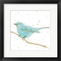 Framed Gilded Bird I Teal