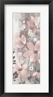 Framed Floral Symphony Blush Gray Crop I