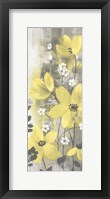 Framed Floral Symphony Yellow Gray Crop I