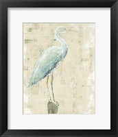 Framed Coastal Egret I v2 no Aqua
