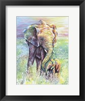 Framed Mother & Baby Elephant Rainbow Colors