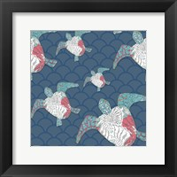 Framed Sea Side BoHo Pattern - Turtles